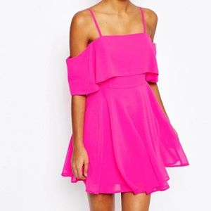 Asos NWOT Cold Shoulder Mini Dress Hot Pink Size 2